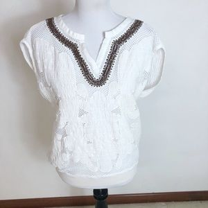 Anthropologie- Floreat lace and beaded top
